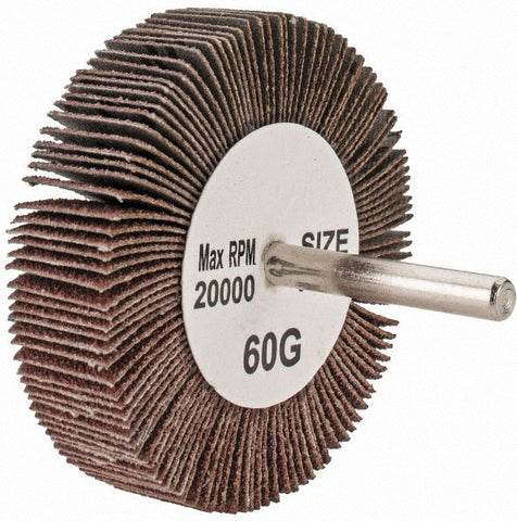 "Merit 2-1/2"" Mounted Abrasive Flap Wheel, Coated, 1"" Width, 1/4"" Shank Size, Aluminum Oxide, 60 Grit, 10 pk.Liquid error (line 13): comparison of String with 0 failed"