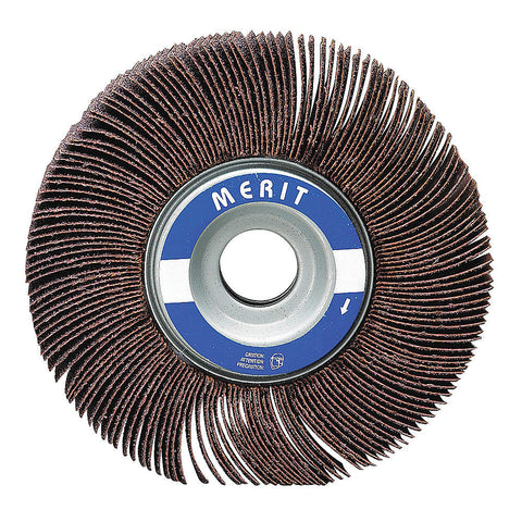 "Merit 6"" Mounted Abrasive Flap Wheel, 1-1/2 Width, 1"" Arbor Size, Coated, Aluminum Oxide, 120 Grit, Fine, 5 pk.Liquid error (line 13): comparison of String with 0 failed"