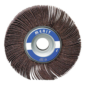 "Merit 6"" Mounted Abrasive Flap Wheel, 1-1/2 Width, 1"" Arbor Size, Coated, Aluminum Oxide, 80 Grit, Medium, 5 pk."