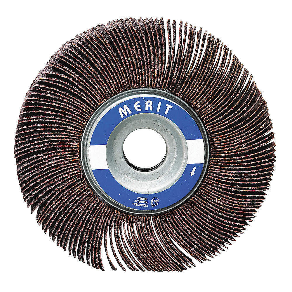 "Merit 6"" Mounted Abrasive Flap Wheel, 1"" Width, 1"" Arbor Size, Coated, Aluminum Oxide, 180 Grit, Very Fine, 5 pk."