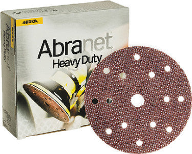 Mirka Abranet Heavy Duty 6 in. 15 Hole Grip Disc 80 Grit, 25 pk.