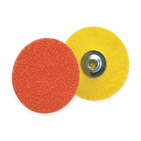 "Norton 1-1/2"" Quick Change Disc, Ceramic, Turn-On/Off, 50 Grit, Coarse, Coated, R980, 100 pk."