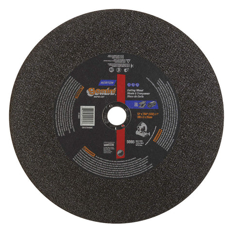 "Norton 12"" Type 1 Silicon Carbide Abrasive Cut-Off Wheel, 1"" Arbor, 7/64""-Thick, 5095 Max. RPM, 10 pk."