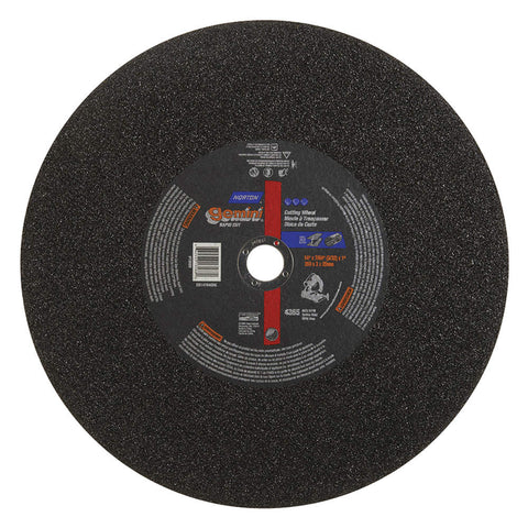 "Norton 14"" Type 1 Silicon Carbide Abrasive Cut-Off Wheel, 1"" Arbor, 7/64""-Thick, 4365 Max. RPM, 10 pk."