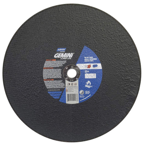 "Norton 16"" Type 1 Aluminum Oxide Abrasive Cut-Off Wheel, 1"" Arbor, 7/64""-Thick, 3820 Max. RPM, 10 pk."