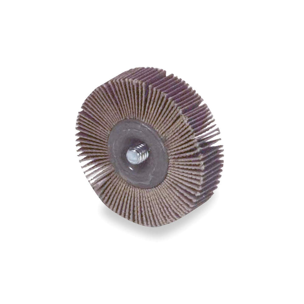 "Norton 2"" Mounted Flap Wheel With Shank, Coated, 1/2"" Width, 1/4""-20 Shank Size, Aluminum Oxide, 80 Grit, 10 pk."