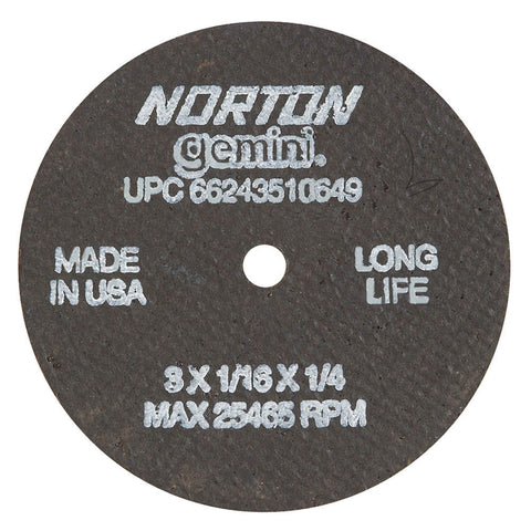 "Norton 3"" Type 1 Aluminum Oxide Abrasive Cut-Off Wheel, 1/4"" Arbor, 1/16""-Thick, 25,465 Max. RPM, 25 pk.Liquid error (line 13): comparison of String with 0 failed"
