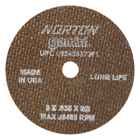 "Norton 3"" Type 1 Aluminum Oxide Abrasive Cut-Off Wheel, 3/8"" Arbor, 0.035""-Thick, 25,465 Max. RPM, 25 pk.Liquid error (line 13): comparison of String with 0 failed"