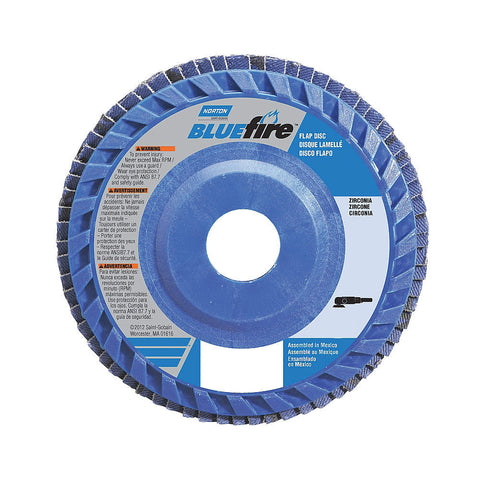 "Norton 4-1/2"" Flap Disc, Type 27, Zirconia Alumina, 36 Grit, 7/8"" Mounting Size, Bluefire, 10 pk.Liquid error (line 13): comparison of String with 0 failed"