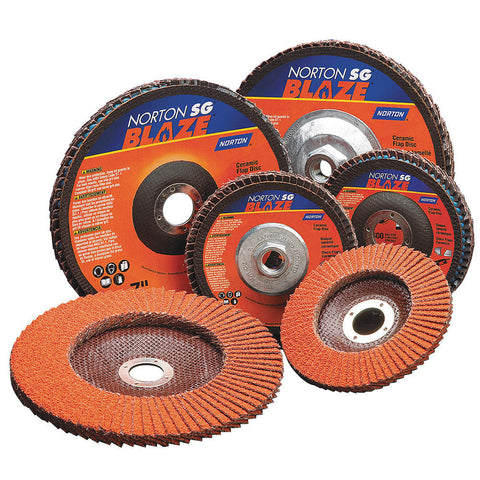 "Norton 4-1/2"" Arbor Mount Flap Disc, Type 29, Ceramic, 60 Grit, 5/8-11 Mounting Size, SG Blaze, 10 pk."