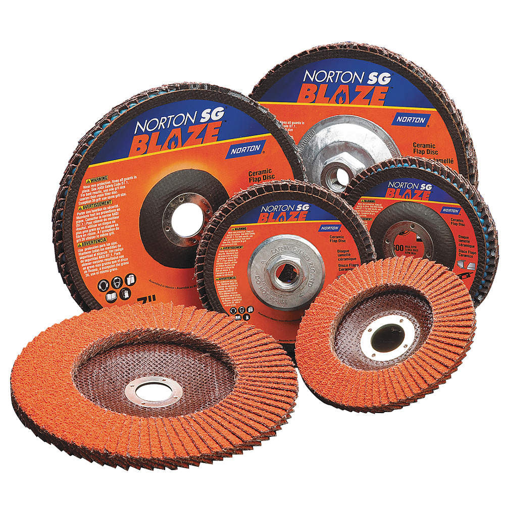 "Norton 4-1/2"" Arbor Mount Flap Disc, Type 29, Ceramic, 80 Grit, 5/8-11 Mounting Size, SG Blaze, 10 pk."