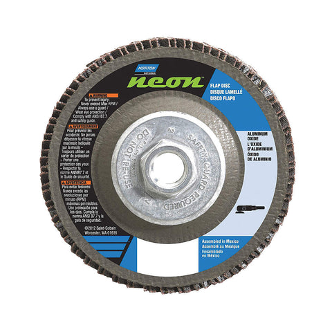 "Norton 4-1/2"" Flap Disc, Type 27, Aluminum Oxide, 36 Grit, 5/8-11 Mounting Size, Neon High Density, 10 pk."