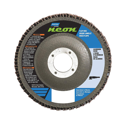 "Norton 4-1/2"" Flap Disc, Type 27, Aluminum Oxide, 36 Grit, 7/8"" Mounting Size, Neon High Density, 10 pk."