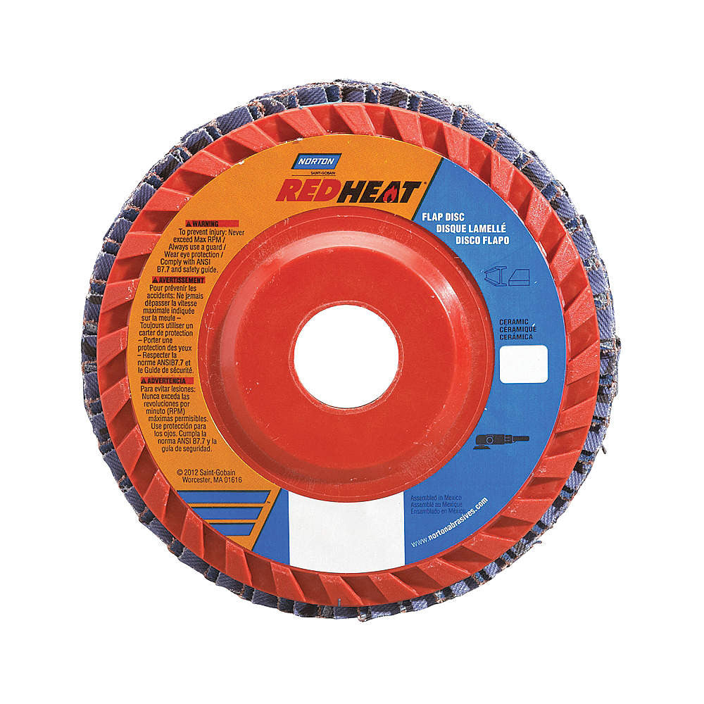 "Norton 4-1/2"" Flap Disc, Type 27, Ceramic, 120 Grit, 7/8"" Mounting Size, Redheat, 10 pk."