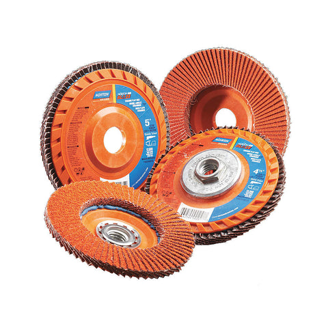 "Norton 4-1/2"" Flap Disc, Type 27, Ceramic, 60 Grit, 7/8"" Mounting Size, SG Blaze, 10 pk."