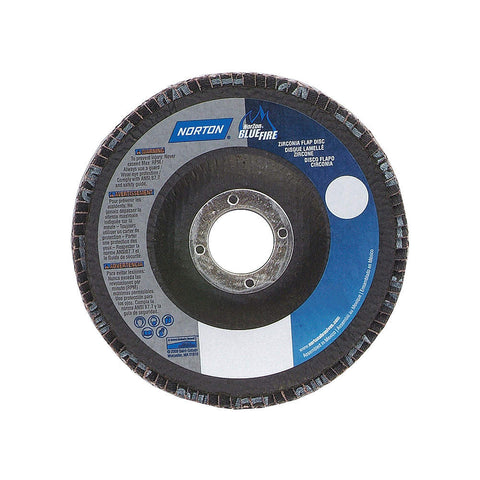 "Norton 4-1/2"" Flap Disc, Type 29, Zirconia Alumina, 36 Grit, 7/8"" Mounting Size, Bluefire, 10 pk.Liquid error (line 13): comparison of String with 0 failed"