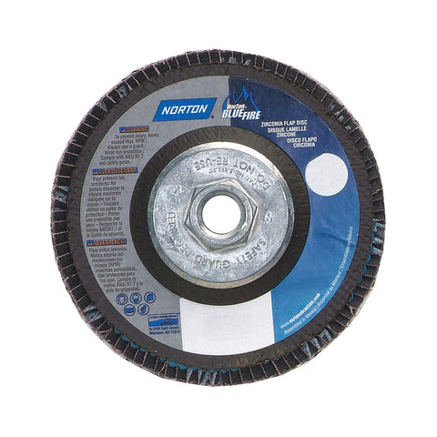 "Norton 4-1/2"" Flap Disc, Type 29, Zirconia Alumina, 40 Grit, 5/8-11 Mounting Size, Bluefire, 10 pk.Liquid error (line 13): comparison of String with 0 failed"