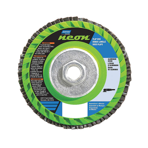 "Norton 5"" Flap Disc, Type 27, Aluminum Oxide, 120 Grit, 5/8-11 Mounting Size, Neon, 10 pk.Liquid error (line 13): comparison of String with 0 failed"