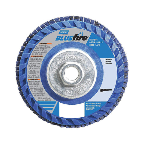 "Norton 5"" Flap Disc, Type 27, Zirconia Alumina, 80 Grit, 5/8-11 Mounting Size, Bluefire, 10 pk.Liquid error (line 13): comparison of String with 0 failed"