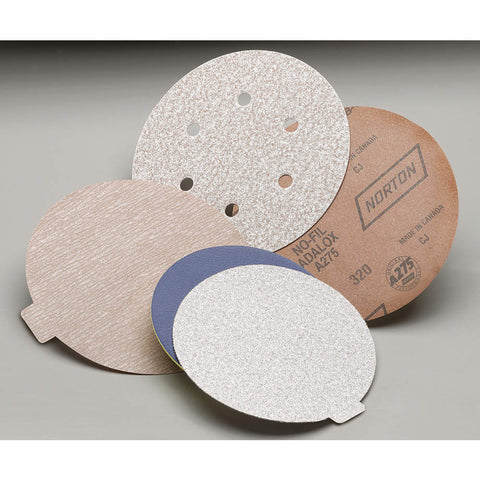 "Norton 5"" Hook-and-Loop Sanding Disc, Aluminum Oxide, 240 Grit, Very Fine, Coated, A275 100 pk."