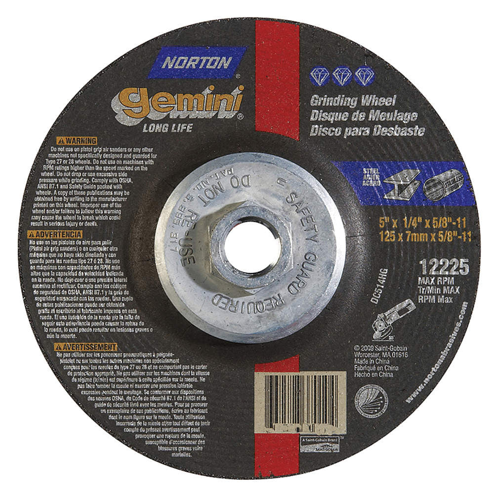 "Norton 5"" Type 27 Aluminum Oxide Depressed Center Wheels, 5/8""-11 Arbor, 1/4""-Thick, 12,225 Max. RPM, 10 pk."