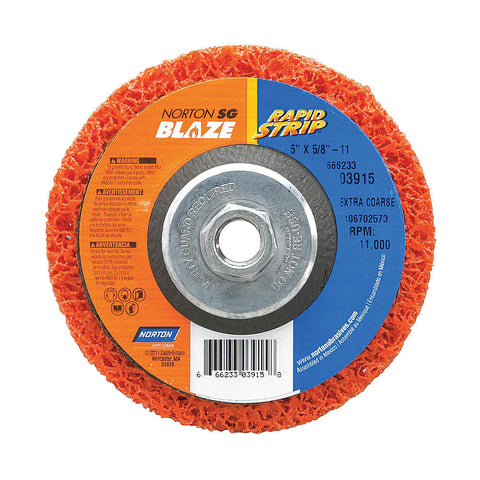 "Norton 5"" Type 27 Ceramic Depressed Center Wheels, 5/8""-11 Arbor, 1""-Thick, 11,000 Max. RPM, 10 pk."