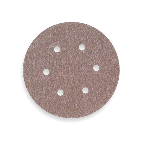 "Norton 6"" PSA Sanding Disc Roll, Aluminum Oxide, 180 Grit, Very Fine, 6 Hole, Coated, A275, 100 Disc Roll"