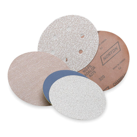 "Norton 6"" PSA Sanding Disc Roll, Aluminum Oxide, 500 Grit, Super Fine, No Hole, Coated, A275, 100 Disc Roll"