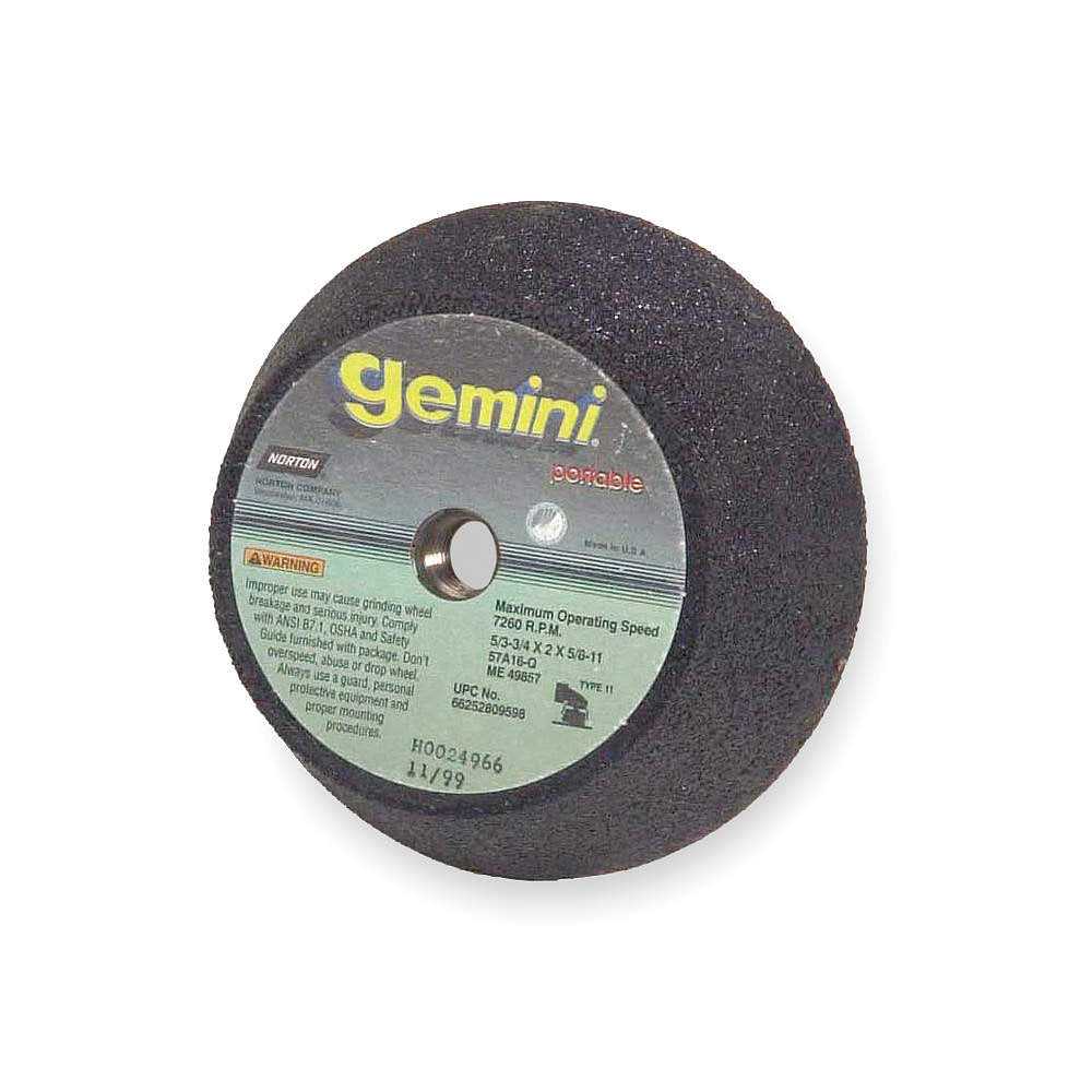 "Norton 6"" Type 11 Aluminum Oxide Flaring Cup Grinding Wheel, 5/8""-11 Arbor, 2"" Thick, 16 Grit, 6000 Max. RP, 5 pk."
