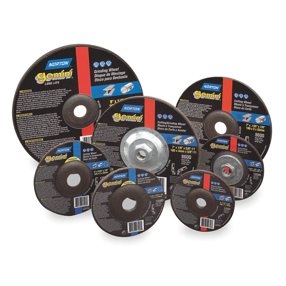 "Norton 6"" Type 27 Aluminum Oxide Depressed Center Wheels, 5/8""-11 Arbor, 1/4""-Thick, 10,185 Max. RPM, 10 pk."