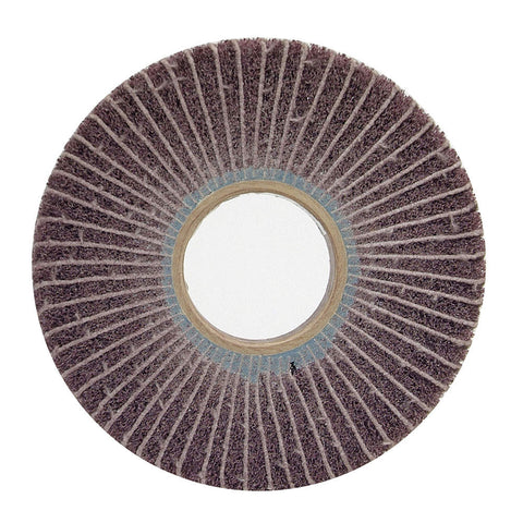 "Norton 6"" Unmounted Flap Wheel, 1"" Width, 2"" Arbor Size, Coated/Non-Woven Blend, Aluminum Oxide, 120 Grit, 4 pk."