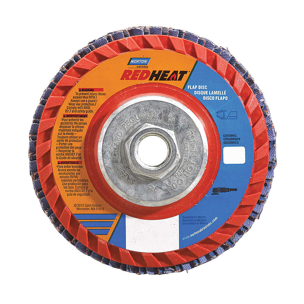 "Norton 7"" Flap Disc, Type 27, Ceramic, 40 Grit, 5/8-11 Mounting Size, Redheat, 5 pk."