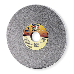"Norton 7"" Type 1 Aluminum Oxide Straight Grinding Wheel, 1-1/4"" Arbor, 1/2"" Thick, 46 Grit, 3600 Max. RPM, 10 pk."