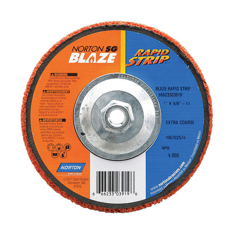 "Norton 7"" Type 27 Ceramic Depressed Center Wheels, 5/8""-11 Arbor, 1""-Thick, 8000 Max. RPM, 10 pk."