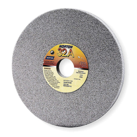 "Norton 8"" Type 1 Aluminum Oxide Straight Grinding Wheel, 1-1/4"" Arbor, 1/2"" Thick, 46 Grit, 3600 Max. RPM, 10 pk.Liquid error (line 13): comparison of String with 0 failed"
