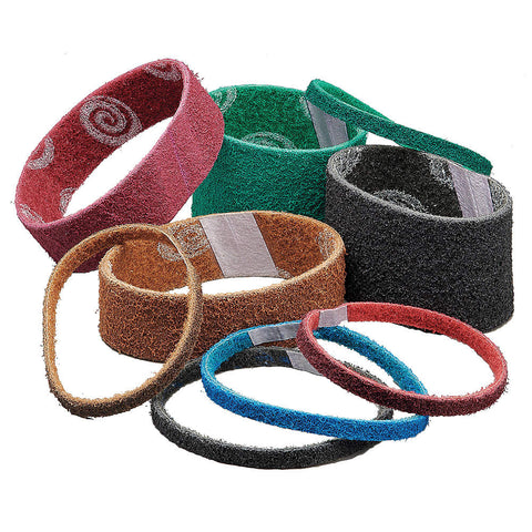 "Norton Sanding Belt, 10-11/16"" Length, 3"" Width, Aluminum Oxide, 80 Grit, Medium, Non-Woven, Vortex Rapid Prep, 12 pk."