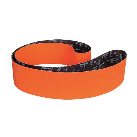 "Norton Sanding Belt, 132"" Length, 6"" Width, Ceramic, 80 Grit, Medium, Coated, R980P Blaze, 10 pk."