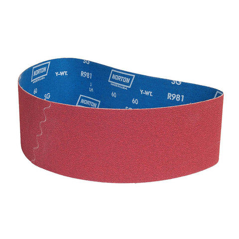 "Norton Sanding Belt, 36"" Length, 4"" Width, Ceramic, 60 Grit, Medium, Coated, R981 SG, 10 pk."
