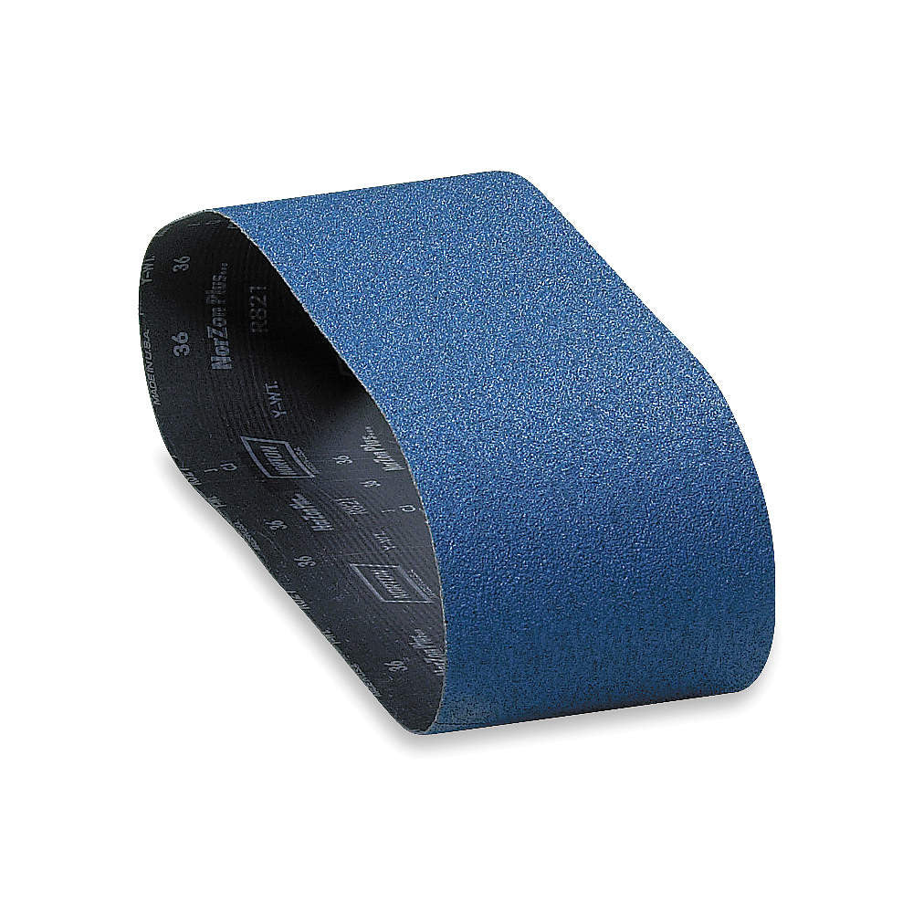 "Norton Sanding Belt, 48"" Length, 6"" Width, Zirconia Alumina, 80 Grit, Medium, Coated, R821P BlueFire, 20 pk."
