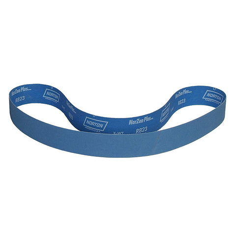 "Norton Sanding Belt, 60"" Length, 1-1/2"" Width, Zirconia Alumina, 100 Grit, Medium, Coated, R823P BlueFire, 10 pk."