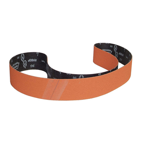 "Norton Sanding Belt, 79"" Length, 3"" Width, Ceramic, 50 Grit, Coarse, Coated, R980P Blaze, 10 pk."
