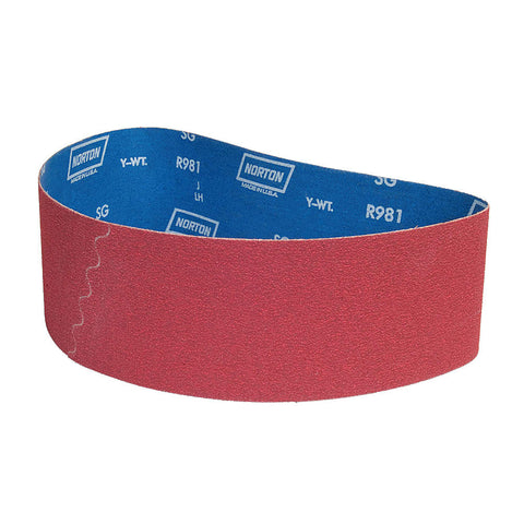 "Norton Sanding Belt, 79"" Length, 4"" Width, Ceramic, 36 Grit, Extra Coarse, Coated, R981 SG, 10 pk."