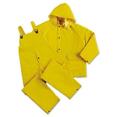DuraWear® 2 Layer PVC/Polyester 3-Piece Yellow Rainsuit, Large
