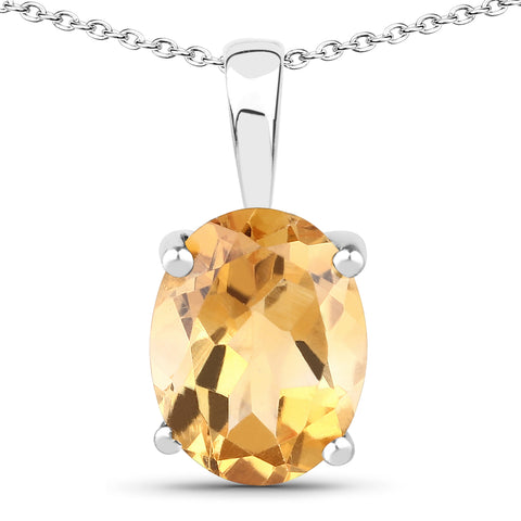 3.28 Carat Genuine Citrine .925 Sterling Silver Jewelry Set