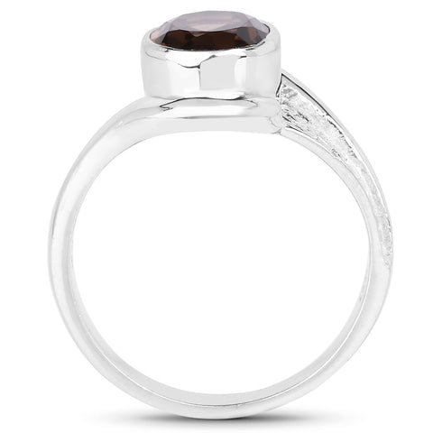 1.74 Carat Genuine Smoky Quartz .925 Sterling Silver Ring