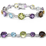 26.48 Carat Genuine Multigemstone & White Diamond .925 Sterling Silver Bracelet