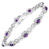 3.58 Carat Genuine Amethyst and White Diamond .925 Sterling Silver Bracelet