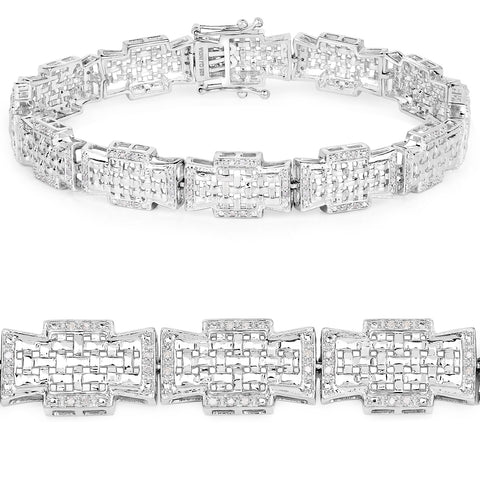 0.48 Carat Genuine White Diamond .925 Sterling Silver Bracelet