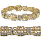 14K Yellow Gold Plated 0.50 Carat Genuine Diamond .925 Sterling Silver Bracelet