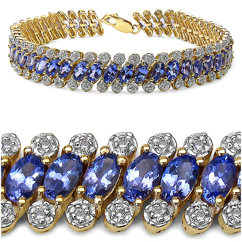 14K Yellow Gold Plated 12.74 Carat Genuine Tanzanite .925 Sterling Silver Bracelet